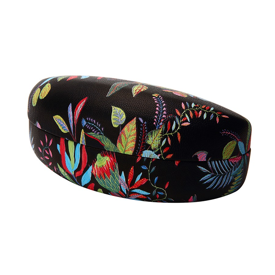 BLACK FLORAL  PRINT CLAMSHELL CASE