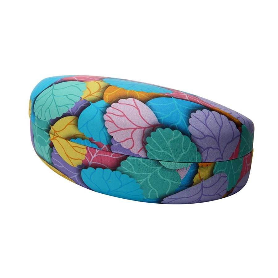 BLUE LEAVES PATTERN CLAMSHELL CASE